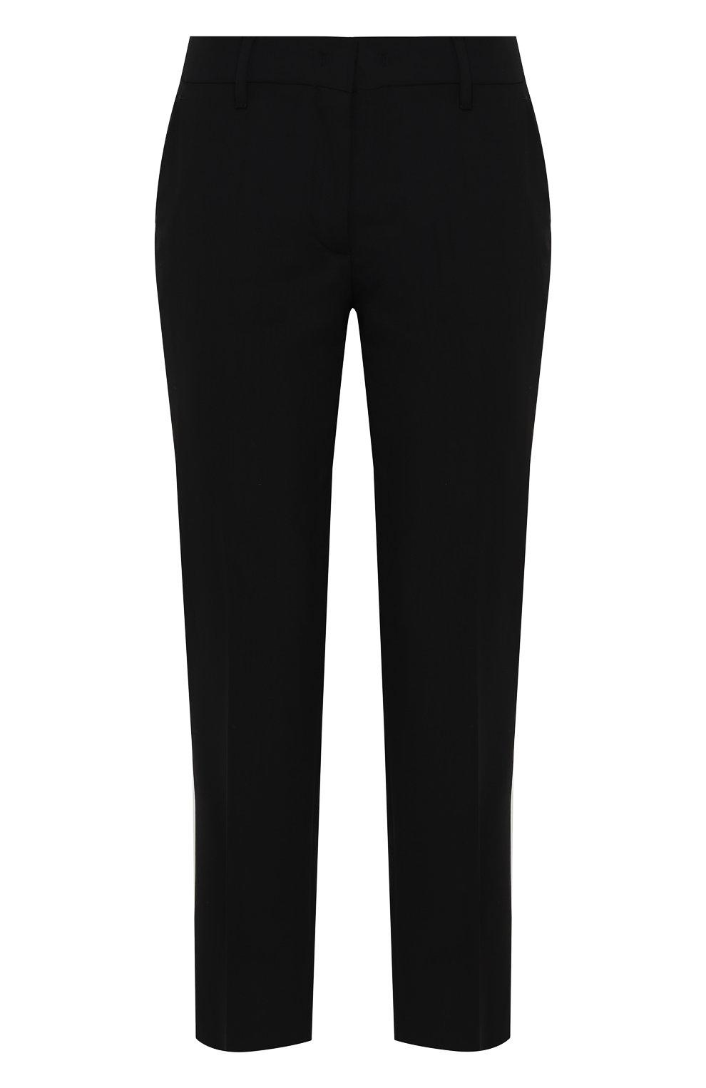 Женские укороченные однотонные брюки прямого кроя PRADA черного цвета, арт. P2469-RO1-F0002 | Фото 1