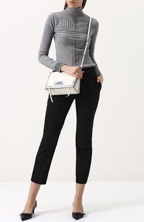 Женские укороченные однотонные брюки прямого кроя PRADA черного цвета, арт. P2469-RO1-F0002 | Фото 2