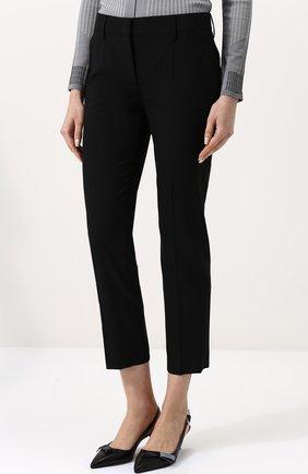 Женские укороченные однотонные брюки прямого кроя PRADA черного цвета, арт. P2469-RO1-F0002 | Фото 3