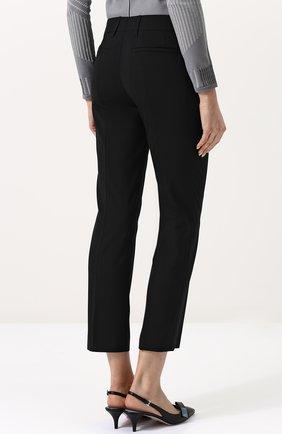 Женские укороченные однотонные брюки прямого кроя PRADA черного цвета, арт. P2469-RO1-F0002 | Фото 4