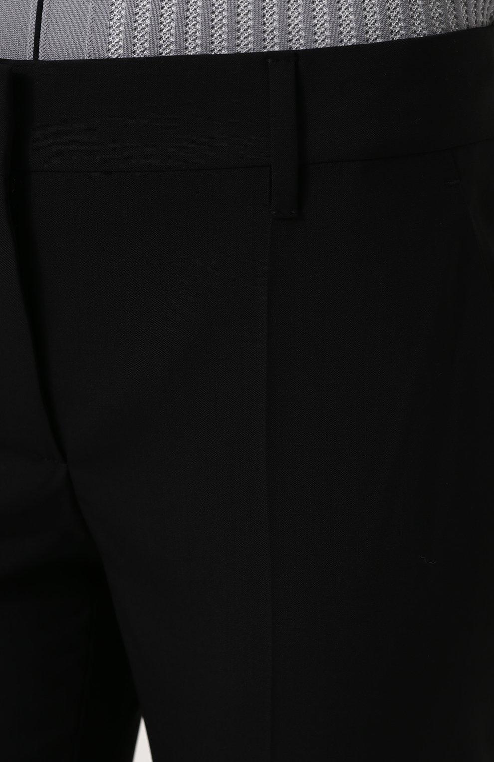 Женские укороченные однотонные брюки прямого кроя PRADA черного цвета, арт. P2469-RO1-F0002 | Фото 5