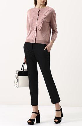 Женские укороченные однотонные брюки прямого кроя PRADA черного цвета, арт. P2469-1DAT-F0002   Фото 2