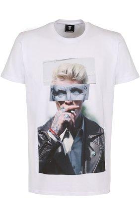 Хлопковая футболка с принтом Diego Venturino белая   Фото №1