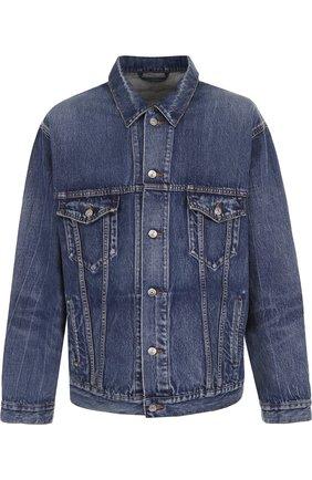 Джинсовая куртка на пуговицах свободного кроя | Фото №1
