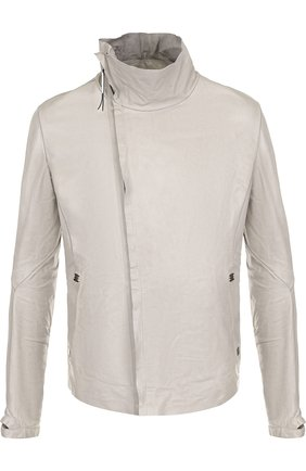 Кожаная куртка на молнии с воротником-стойкой Isaac Sellam светло-серая | Фото №1