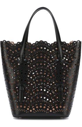 Кожаная сумка с перфорацией Alaia черная цвета | Фото №1