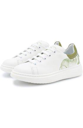 Кожаные кроссовки с принтом на толстой подошве | Фото №1