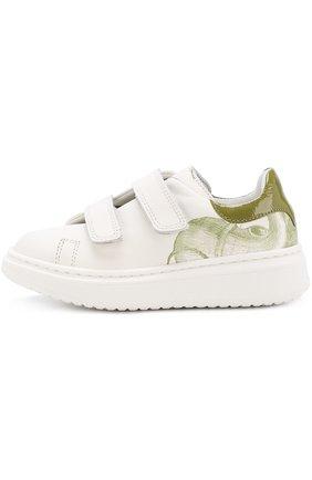 Детские кожаные кроссовки с принтом на толстой подошве Rondinella белого цвета | Фото №1