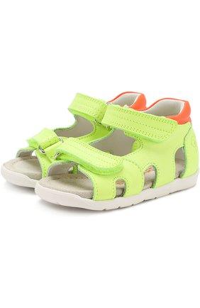 Детские кожаные сандалии с застежками велькро Rondinella зеленого цвета | Фото №1