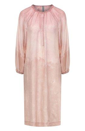 Шелковое платье свободного кроя с круглым вырезом | Фото №1