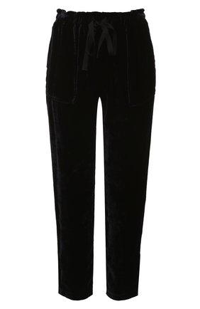 Укороченные бархатные брюки прямого кроя | Фото №1