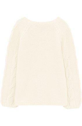 Детский кашемировый пуловер с фактурным узором LORO PIANA белого цвета, арт. FAG3833 | Фото 2