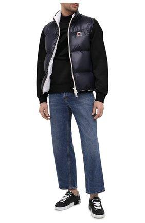 Мужские кожаные кеды portofino на шнуровке DOLCE & GABBANA черного цвета, арт. CS1587/AH527 | Фото 2