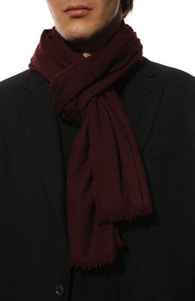 Мужской шерстяной шарф с необработанным краем LORO PIANA бордового цвета, арт. FAF1236 | Фото 2