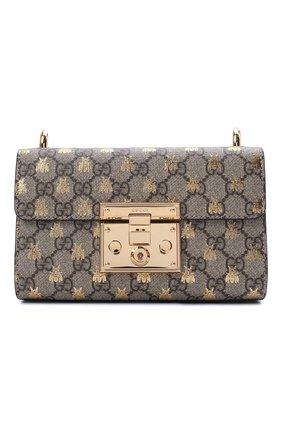 Женская сумка gg padlock small GUCCI бежевого цвета, арт. 409487/9F26G | Фото 1 (Ремень/цепочка: На ремешке; Размер: small; Материал: Экокожа; Сумки-технические: Сумки через плечо; Статус проверки: Проверена категория)