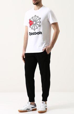 Кожаные кеды на шнуровке Reebok белые   Фото №1
