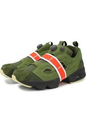 Текстильные кроссовки InstaPump Fury Money Pack Reebok зеленые   Фото №1