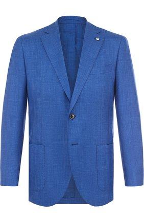 Однобортный пиджак из смеси шерсти и шелка со льном | Фото №1