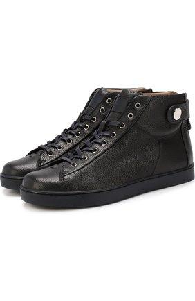 Мужские высокие кожаные кеды на шнуровке GIANVITO ROSSI темно-синего цвета, арт. S20593.M1DEN.B0XDENI | Фото 1