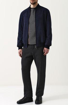 Мужские высокие кожаные кеды на шнуровке GIANVITO ROSSI темно-синего цвета, арт. S20593.M1DEN.B0XDENI | Фото 2