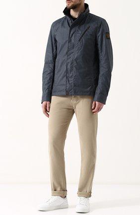 Хлопковая куртка на молнии с воротником-стойкой Belstaff синяя | Фото №1