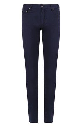 Хлопковые брюки прямого кроя Paul&Shark темно-синие | Фото №1
