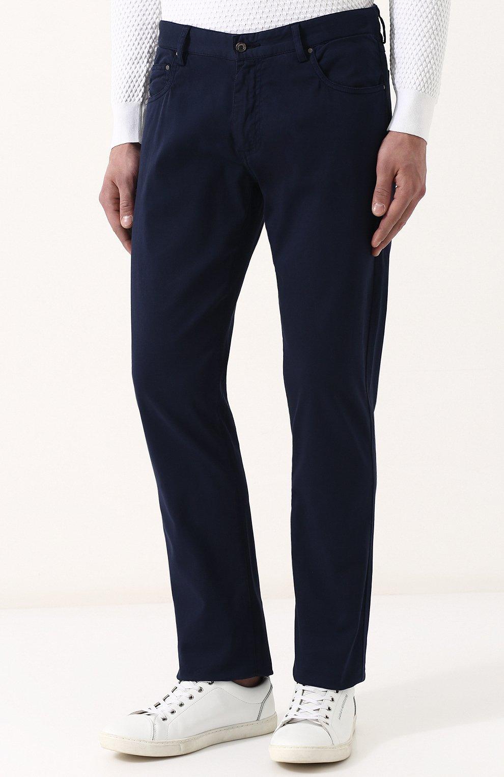 Хлопковые брюки прямого кроя Paul&Shark темно-синие | Фото №3