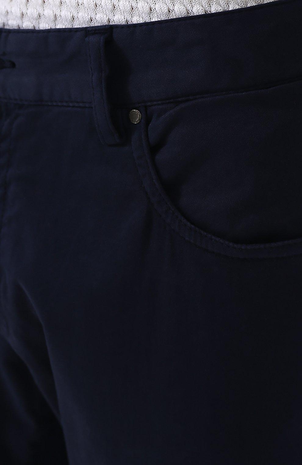 Хлопковые брюки прямого кроя Paul&Shark темно-синие | Фото №5