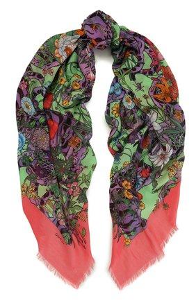 Хлопковая шаль с цветочным принтом | Фото №1