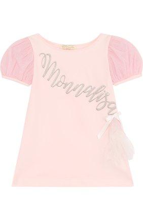 Детский хлопковый топ с вышивкой и рукавом-фонарик MONNALISA розового цвета, арт. 711606R1 | Фото 1