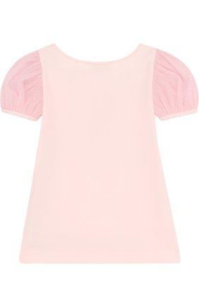 Детский хлопковый топ с вышивкой и рукавом-фонарик MONNALISA розового цвета, арт. 711606R1 | Фото 2