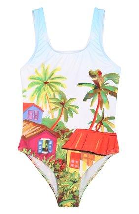 Слитный купальник с принтом Stella Jean Kids разноцветного цвета | Фото №1