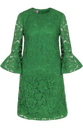 Кружевное платье-миди с расклешенными рукавами | Фото №1