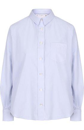 Однотонная хлопковая блуза свободного кроя | Фото №1
