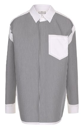 Женская хлопковая блуза свободного кроя в полоску Maison Margiela, цвет черно-белый, арт. S51DL0244/S43001 в ЦУМ | Фото №1