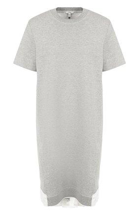 Хлопковое мини-платье с контрастной вставкой на спинке Clu серое | Фото №1