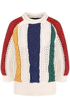 Пуловер фактурной вязки с круглым вырезом и укороченным рукавом | Фото №1