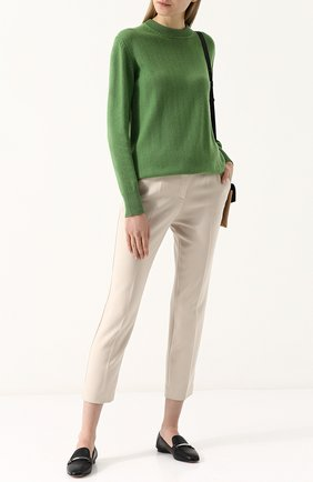Однотонный пуловер из смеси кашемира и хлопка Alexandra Golovanoff зеленый | Фото №1