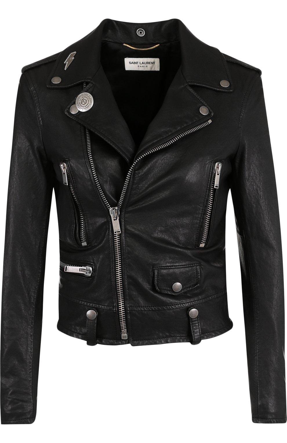 Укороченная кожаная куртка с косой молнией | Фото №1