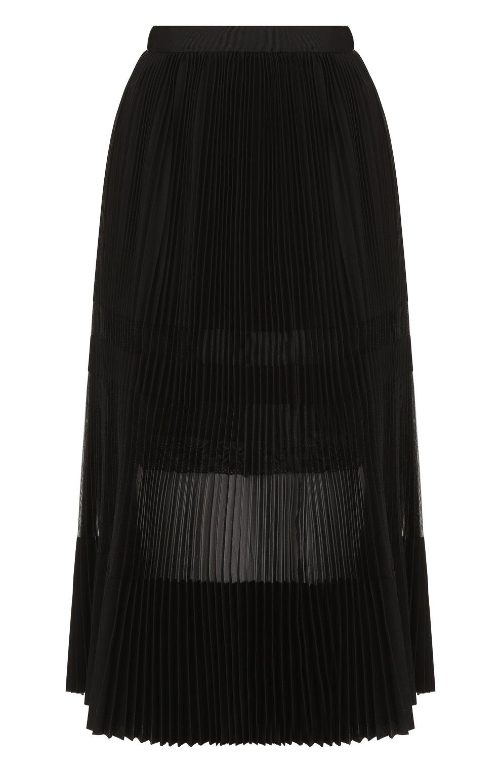 Полупрозрачная плиссированная юбка-миди | Фото №1