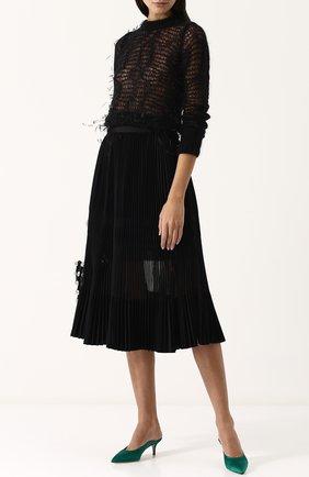 Полупрозрачная плиссированная юбка-миди | Фото №2