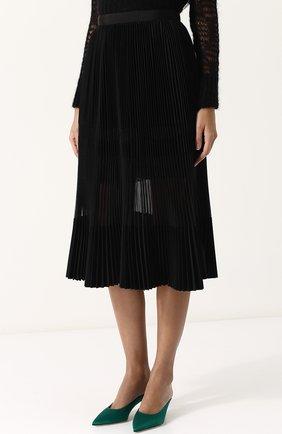 Полупрозрачная плиссированная юбка-миди | Фото №3