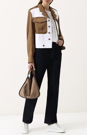 Жакет свободного кроя с погонами и накладными карманами Maison Margiela бежевый | Фото №1
