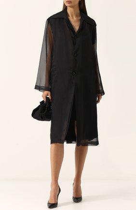 Полупрозрачное пальто свободного кроя Maison Margiela темно-синего цвета | Фото №1
