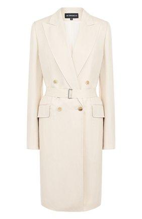 Однотонное пальто из смеси вискозы и льна с поясом   Фото №1