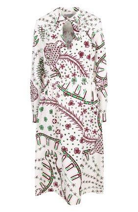 Приталенное хлопковое платье с принтом | Фото №1