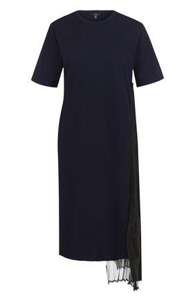 Однотонное хлопковое мини-платье с круглым вырезом Clu синее | Фото №1