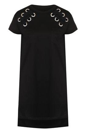Однотонное хлопковое мини-платье свободного кроя | Фото №1