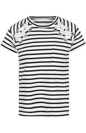 Хлопковая футболка свободного кроя в полоску Sacai черно-белая   Фото №1