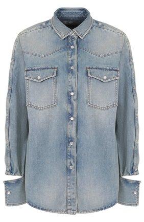Джинсовая блуза свободного кроя с потертостями